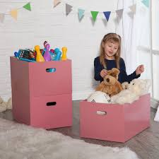 Pink stackable boxes for toy storage, via Hayneedle