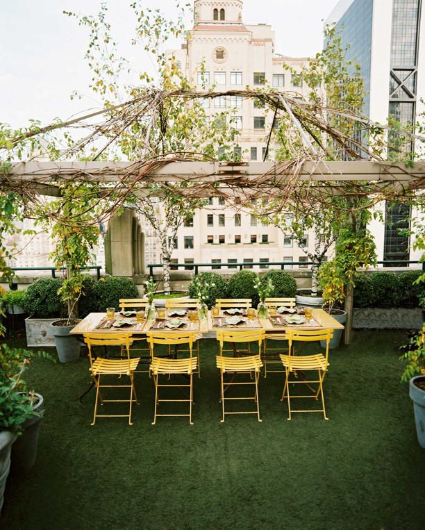 Yellow chairs on green grass, via Outdoor Decorations