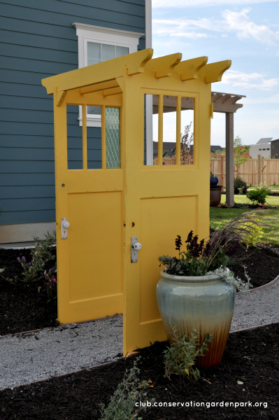 Gazebo made from yellow doors, via Jordan Valley Home and Garden Club