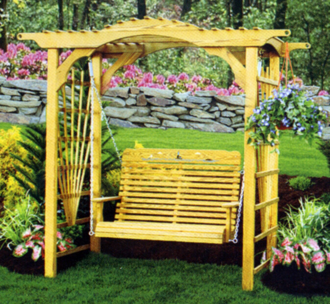 Yellow wooden swing!, via Dutch Country Furniture