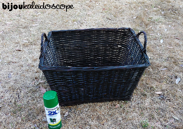 My wicker basket ready to be spray painted