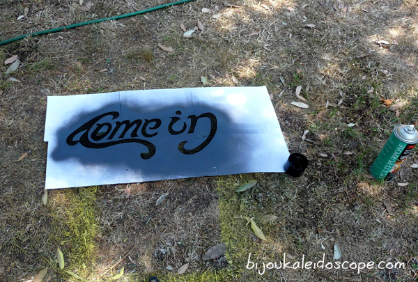 Spray paint over the stencil with black gloss.