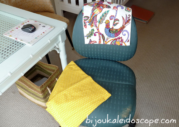 Yellow upholstery fabric selected for my office chair.