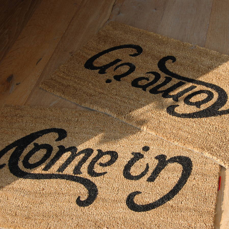 The Come In, Go Away ambigram coir doormat