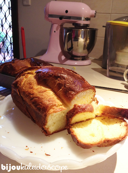 My brioche sliced and displayed on my new vintage white milk glass cake plate