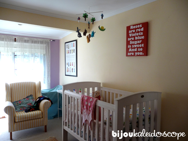 Jasmine-Anita's cot and my feeding armchair