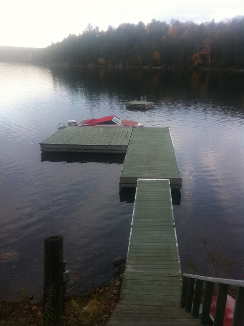 Lakeside dock before makeover - Justin & Colin's Cabin Pressure