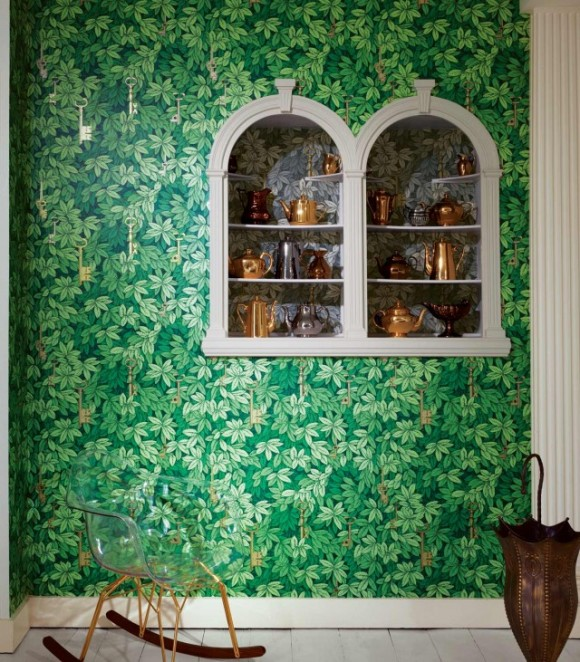 Cole & Son's Fornasetti Chiavi Segrete Wallpaper in green