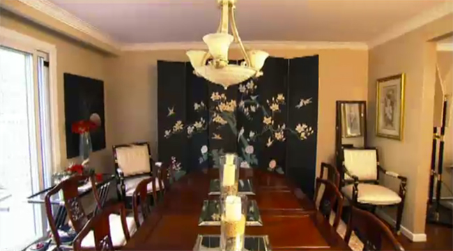 Jasmine's over-Asianised dining room, from the Global Bad Taste episode from Home Heist