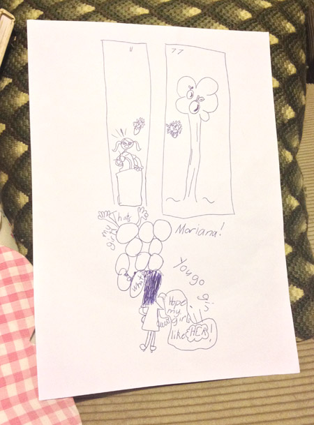 Hannah's artwork today: Supposed to be part of a play/story she's writing.