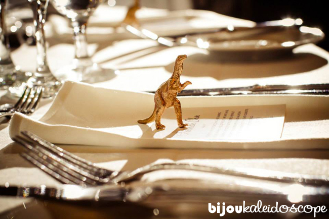 My little gold dino on one of the placecards @ bijoukaleidoscope