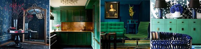Rooms in Blues and greens and golds
