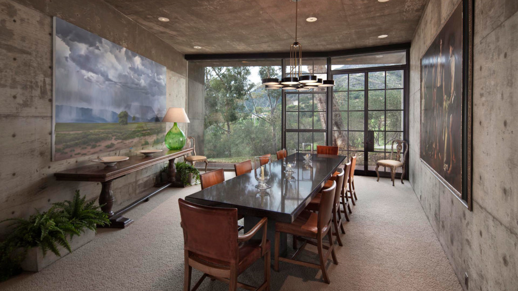 The dining room of Steve Martin's Roland E. Coates 70s Montecito mansion