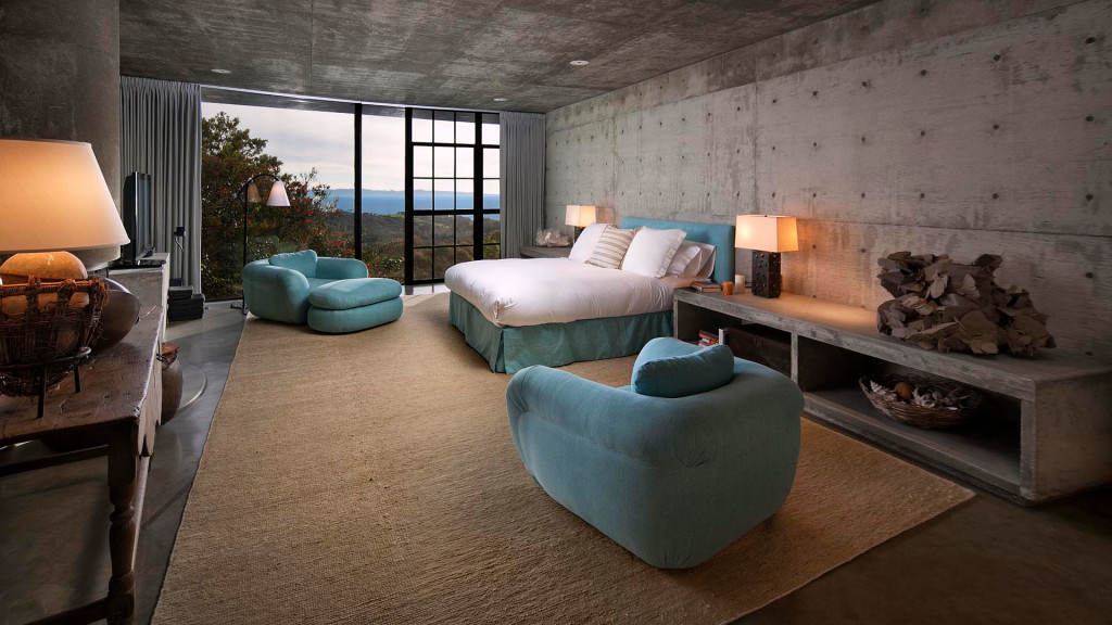 The blue bedroom in Steve Martin's Roland E. Coates 70s Montecito mansion