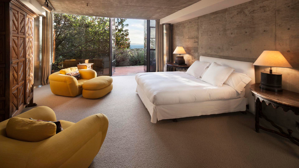 The yellow bedroom in Steve Martin's Roland E. Coates 70s Montecito mansion