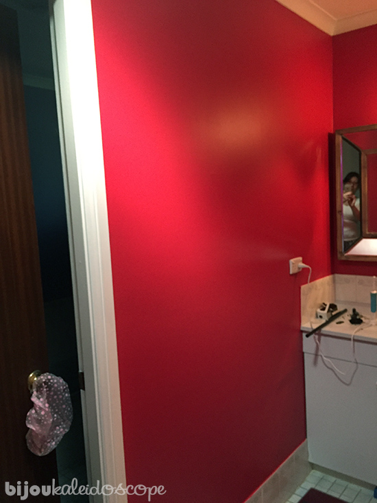 The new red wall waiting for art @bijoukaleidoscope