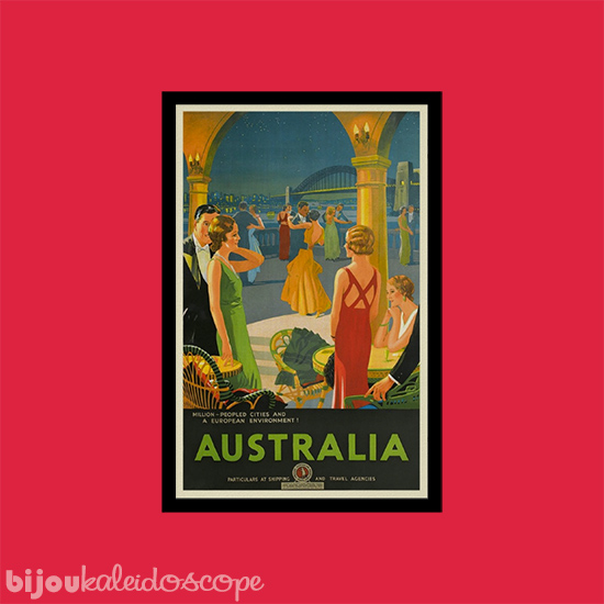 Australia vintage travel poster against Haymes Paint's Tom's Run