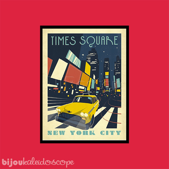 New York Times Square vintage travel poster against Haymes Paint's Tom's Run