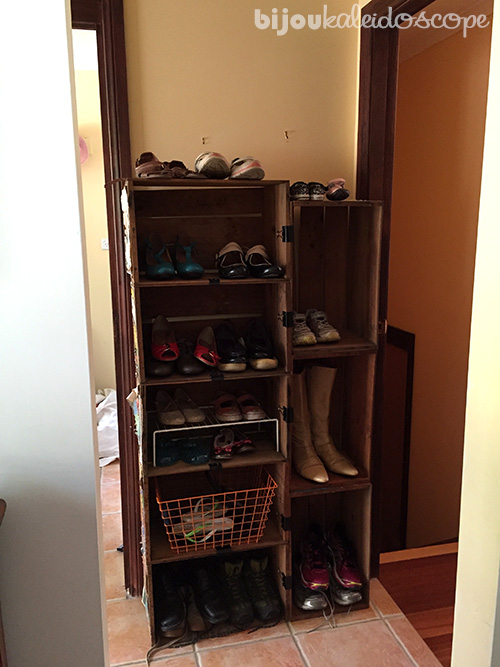 My apple crates placed insitu for shoes and boots @bijoukaleidoscope
