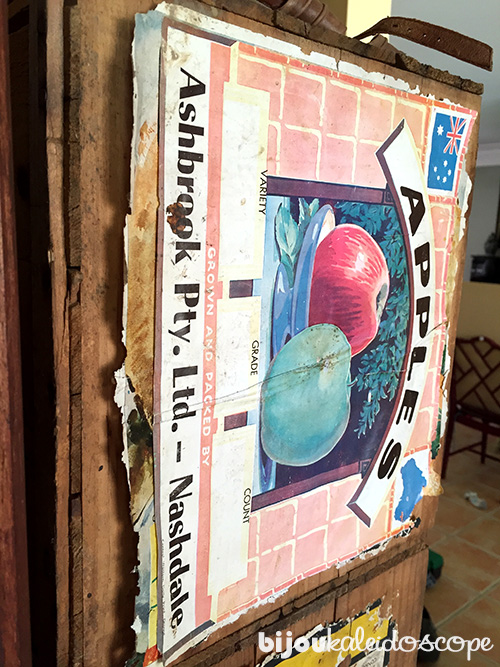 These old apple crates were used over and over again, see the different layers of stickers? @bijoukaleidoscope