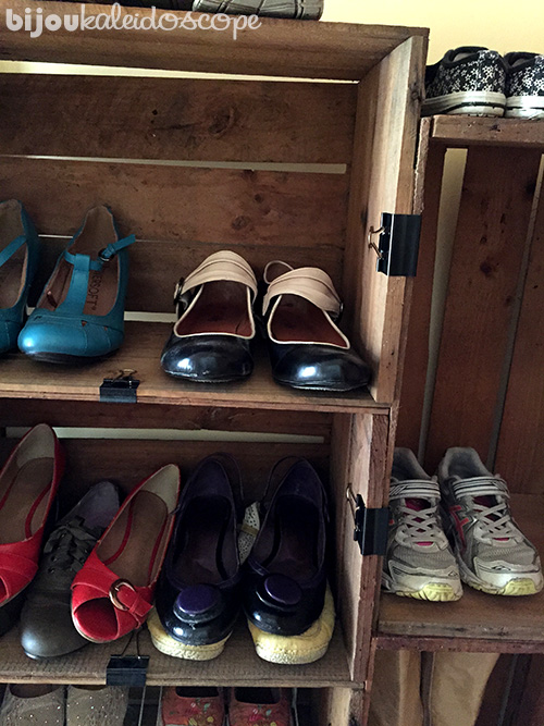 Crates were the right depth for our shoes, but more shelves were needed. @bijoukaleidoscope