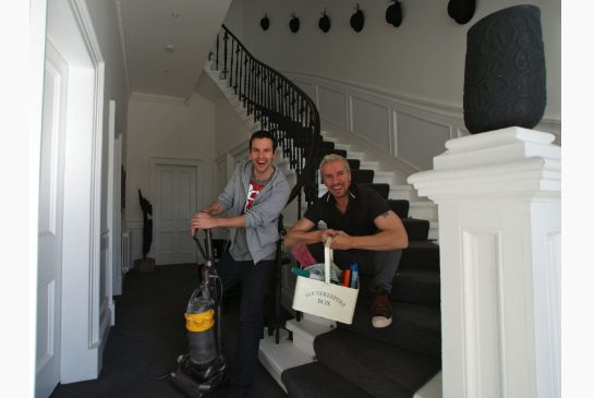 Colin and Justin about ready to tackle housework at their Glasgow home, via The Star newspaper