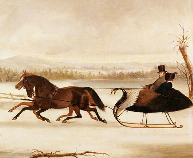 A Smart Turnout vintage painting of horse sleigh pulling a couple