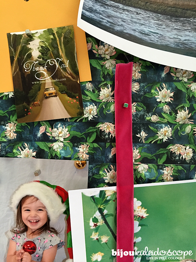 My washi-covered pinboard moodboard up close @bijoukaleidoscope