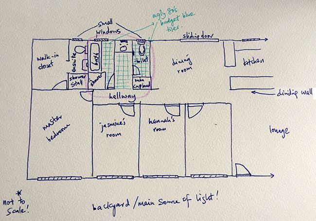 The plan of my house; bedroom, hallway, dining, bathroom side @bijoukaleidoscope