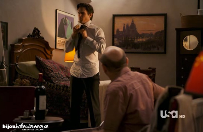 Mozzie and Neal confering in his apartment, White Collar @bijoukaleidoscope