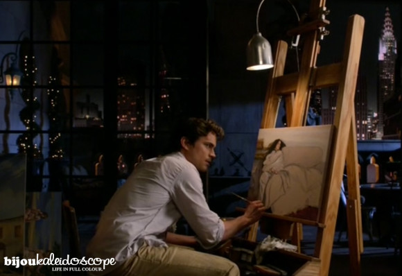 Neal Caffrey painting a woman reclining on a sofa, White Collar @bijoukaleidoscope