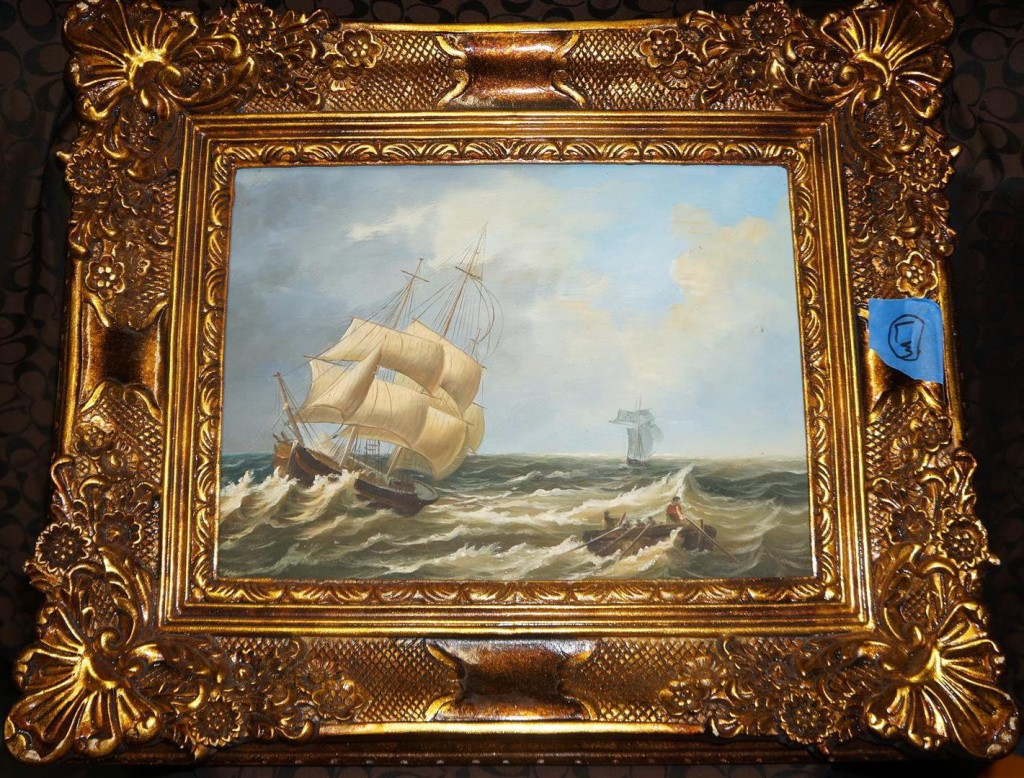 Seafaring ship painting on the set of White Collar on auction
