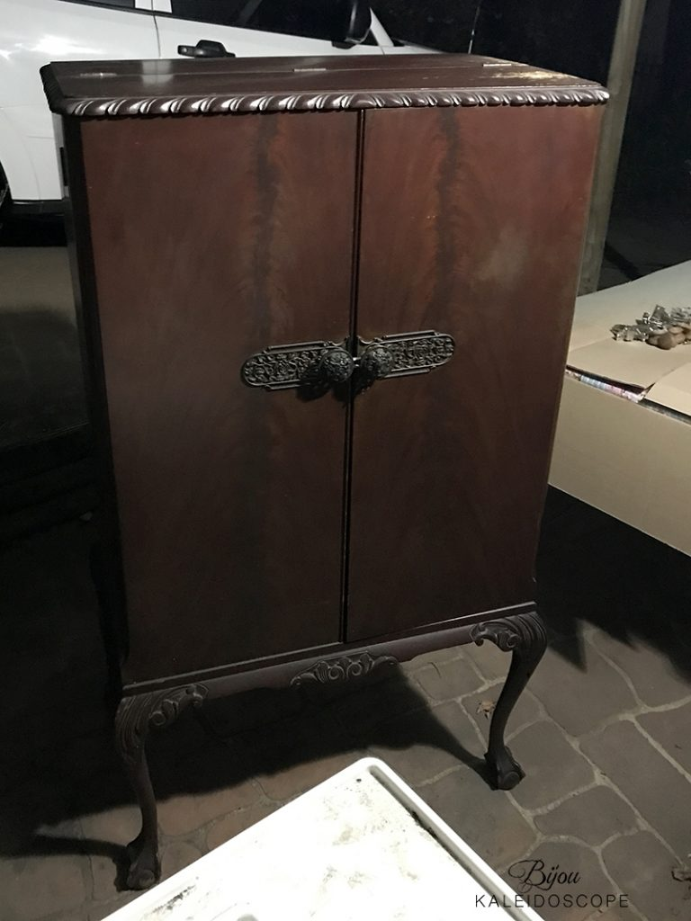 Vintage 1940s cocktail cabinet before restoring and painting