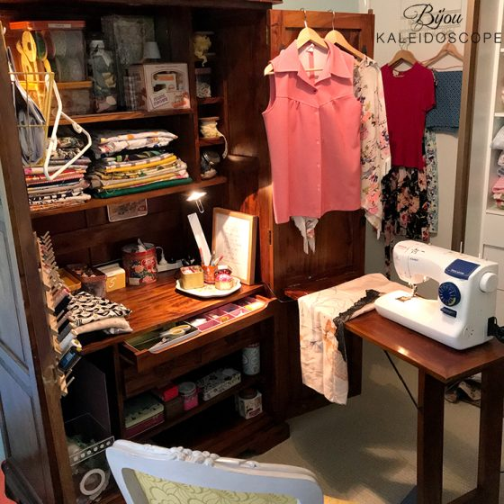 My sewing hub in a desk in a cabinet