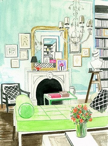 An artist's rendition of a living room, Anne Harwell