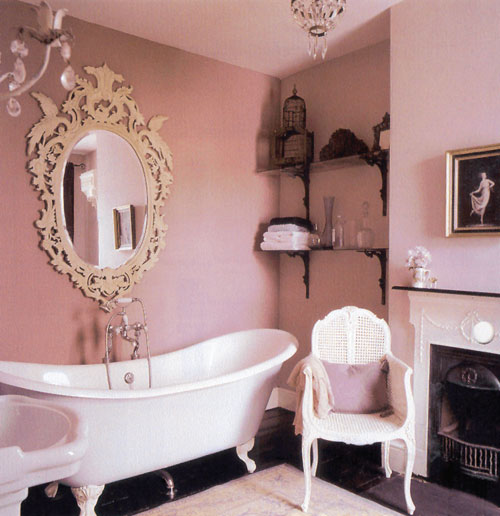 A bathroom with Every wall a different shade of pink