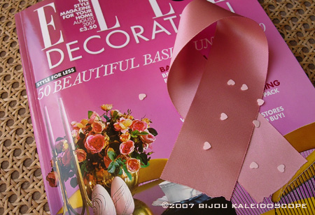 Cover of Elle Decoration in pink and pink ribbon for breast cancer