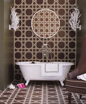 Brown and white tiled bathroom