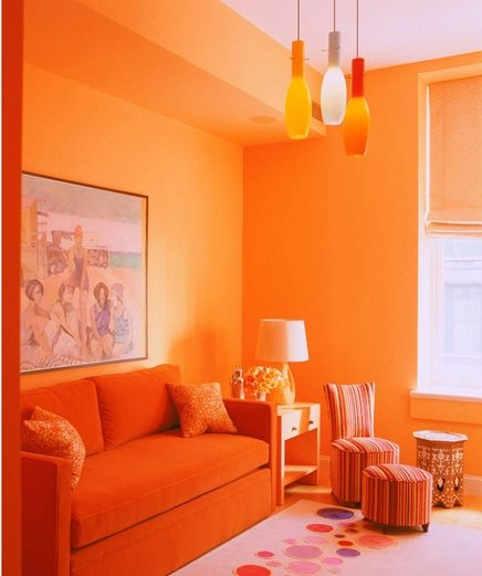 Orange living room with orange lounge