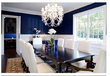 Conan o'Brien dining room in blues and whites