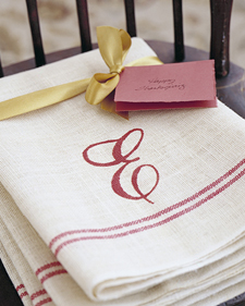 monogrammed napkin with E