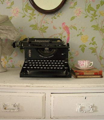 Gorgeous picture of an antique typewriter on a dresser against a beautiful parrot wallpaper