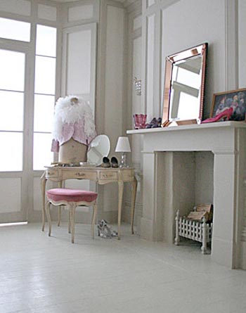 White french boudoir with pink accents, via the Beach Studios.