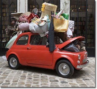 A Fiat packed with belongings