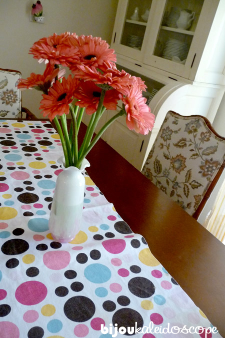 My spotty table runner with happy watermelon gerberas.
