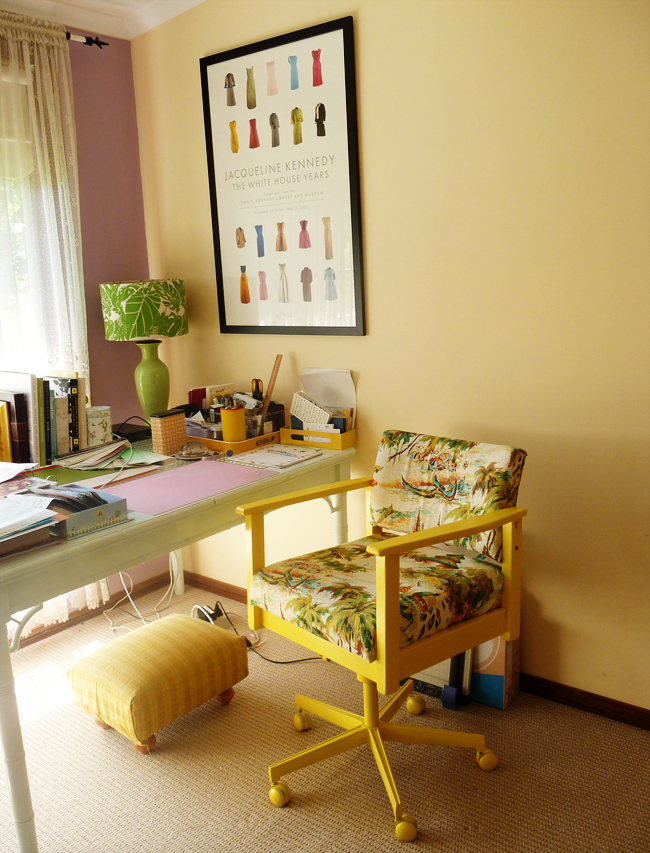My office chair, painted, recovered, looking at home!