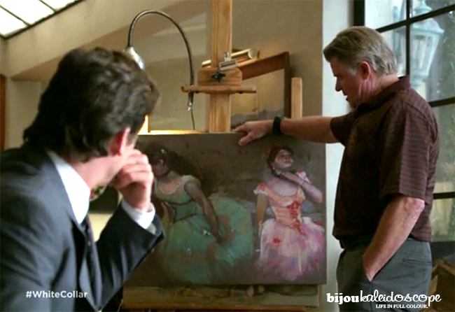 Neal and his father inspecting Neal's work forging the Degas, White Collar @bijoukaleidoscope