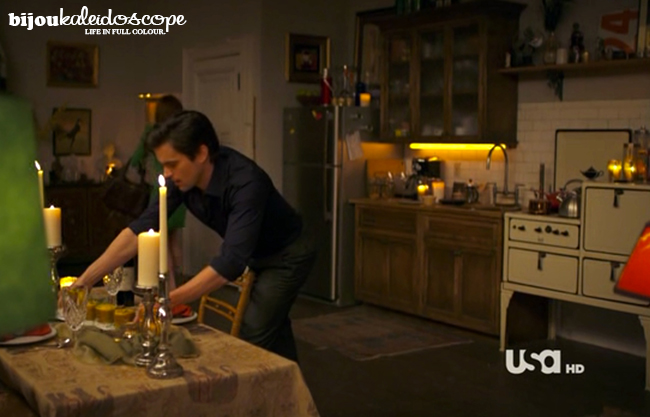 Neal serving up a beautiful candlelight gourmet dinner for Sara, White Collar